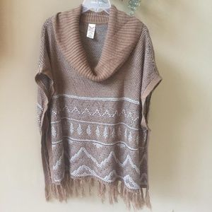 Faded Glory Poncho Turtleneck Pullover Sweater L